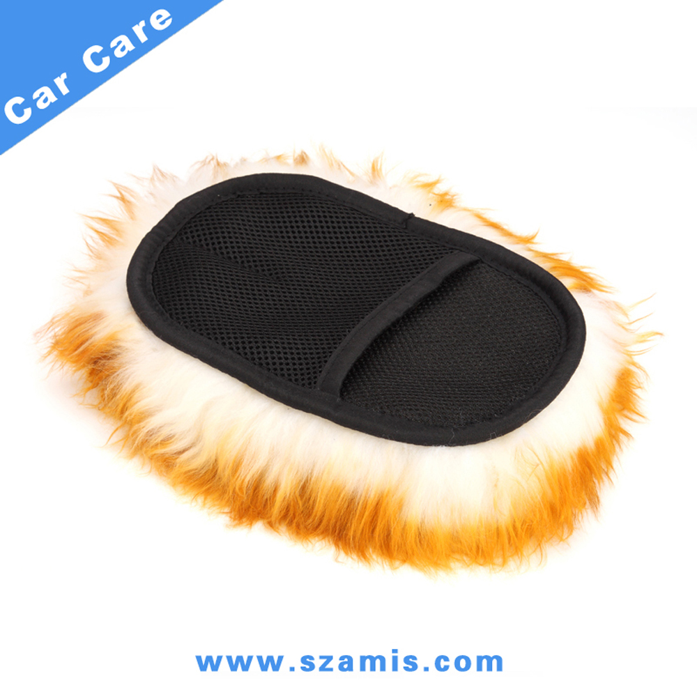 Long Hair Genuine Whole Sheepskin Wool Car Wash Mitt-Single side